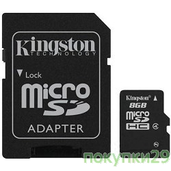 Карта памяти  Micro SecureDigital 8Gb  Kingston SDC4/8GB(CR)